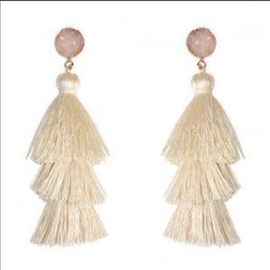 Ivory Druzy Tassel Earings